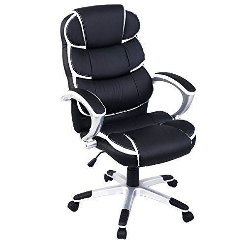 Giantex Ergonomic PU Leather High Back Executive Computer Desk Task Office Chair (Black)