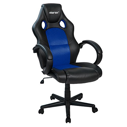 Merax Office Chair Executive Home Office Chair Racing Style Gaming Chair PU Leather Swivel Computer and Office Desk Chair (blue)