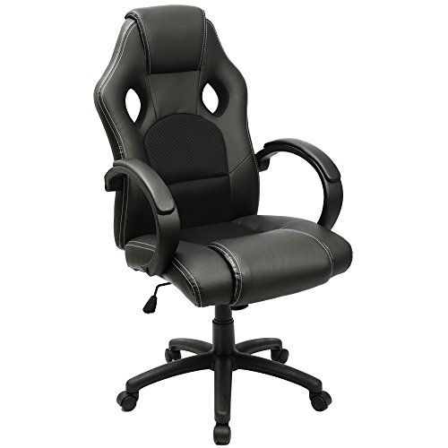 Furmax Office Chair High back PU Leather Computer Chair, Ergonomic Racing Chair,Desk Chair Swivel Executive Gaming Chair Headrest and Lumbar Support (Black)