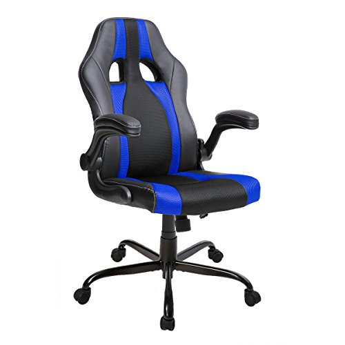 Merax Racing Style Office Chair Computer Desk Chair High Back PU Leather and Mesh Material Swivel Chair (blue)