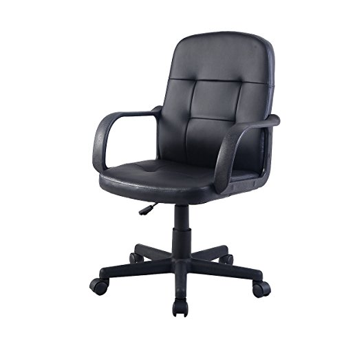 Giantex Pu Leather Ergonomic Midback Executive Computer Desk Task Office Chair Black
