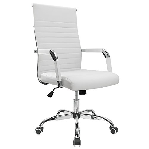 Furmax Ribbed Office Chair Mid-Back PU Leather Executive Conference Chair Adjustable Swivel Chair With Arms White)
