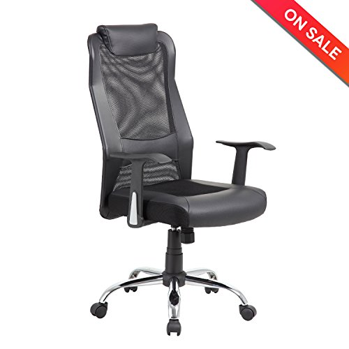 LCH High Back Mesh Office Chair – Ergonomic Computer Desk Task Chair with Padded Leather Headrest, Black
