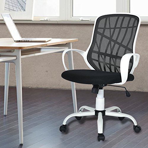 GreenForest Office Chair Mesh Mid-Back Swivel Task Chair with Special Design Back,White-black